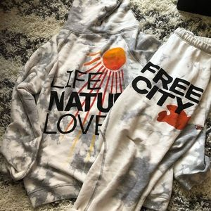 FreeCity SUPERBLEACH rollup sweats AND LNL Hoodie